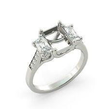 Emerald 3 Stone Semi Mount Round Diamond Engagement Ring Solid 18k White Gold