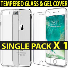 For iPhone 5 SE 6 7 8 Clear Case Cover Gel and Tempered Glass Screen Protector