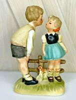 Vintage Wales Ceramic Kissing Couple Boy and Girl Figurines 6.25 inches