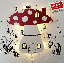 Kinderlampe Kinderzimmerlampe Wandlampe Fliegenpilz mit Eulen Feen Elfen M879
