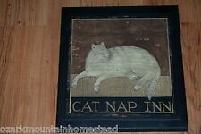 Cat Nap Inn rustic country style folk art picture, hand crafted wall decor sign