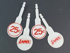 Vintage Lance Crackers plastic price tag hangers 25 Cents red & white zip ties