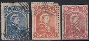 Newfoundland 1870 - 1894 3 diff Victoria Spiro old forgery counterfeit fake