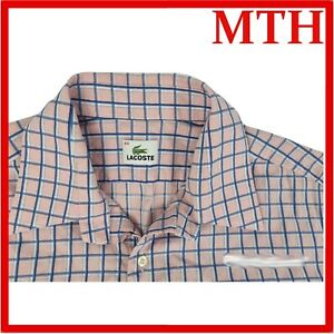 LACOSTE Men's Pink Check Short Sleeve Button Down Shirt Size 44 Fits Large - VGC