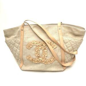 CHANEL CC Flower Shoulder Bag Tote Bag Beige Canvas x Leather