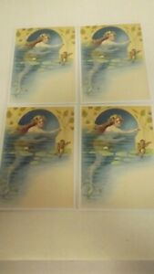 Set of 4 Frog Serenade to Mermaid Blank Notecards w Envelopes New
