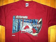* COLORADO AVALANCHE * Vintage 90s NEW T Shirt L Hockey Stick Logo Russell Label