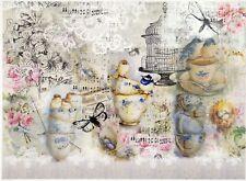 Rice Paper for Decoupage Scrapbook Craft Sheet-  Tea time & birds