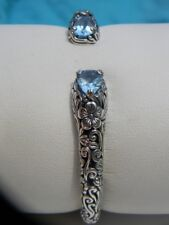 925 Sterling Silver Contemporary Hinge Cuff Bracelet - Topaz - Anika Witt