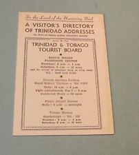 1952 Trinidad Visitor's Address Directory Airlines Taxi Shipping Recreation