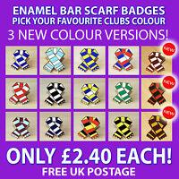 RETRO BAR SCARF ENAMEL PIN BADGE FOR FOOTBALL FANS - VARIOUS CLUBS & COLOURS.