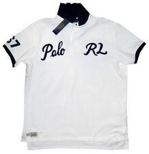 NEW RARE RALPH LAUREN POLO RL WHITE BLUE SCRIPT COTTON POLO 67 RUGBY SHIRT L/XL