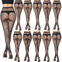 Womens Fishnet Long Socks Spider Star Print Tights Pantyhose Sexy Net Stockings