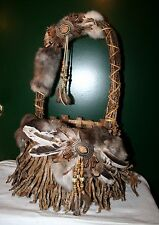 Native American Hand Woven Twig Basket  Made W/ Sticks Rabbit Fur