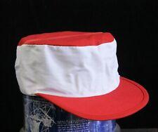 Vintage Blank Red & White Elastic Back Painters Hat Cap