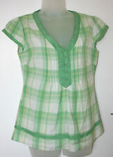 Monsoon UK8 EU36 green/white/yellow check cotton cap-sleeved top with silk trim