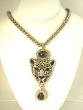 Gold Designer Big Cat Cheetah Leopard Chunky Amber Glass Necklace Heavy Chain