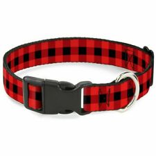 """Buckle-Down Buffalo Plaid Black/Red Martingale Dog Collar 1"""" Wide-Fits 9-15"""