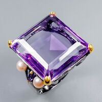 Vintage36ct+ Natural Amethyst 925 Sterling Silver Ring Size 9/R125622