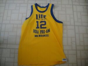 RARE VINTAGE 80'S AUTHENTIC MEDALIST SAND KNIT NBA MILWAUKEE JERSEY HARD TO FIND