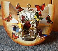 "3D Popnrock Card by Santoro  - ""Butterflies and Bird Cage"""