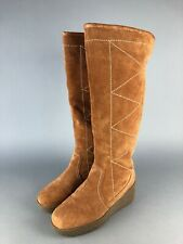 STEVE MADDEN Micki Tall Suede Leather Fur Cuff Gold Platform Wedge Boots Sz 7M