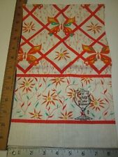Vintage Linen Fabric Kitchen Dish Towel with Butterfly Design ~ Nos ~ Free Ship