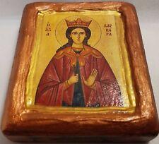 Saint Barbara Varvara Αγια Βαρβαρα Byzantine Greek Orthodox Icon Art OOAK