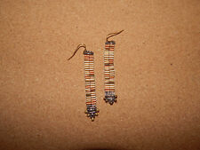 ANTHROPOLOGIE EARRING DANGLE METAL CHAIN ARROW BEAD HUES BROWN HOOK UNIQUE