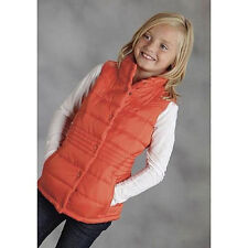Roper Girls Nylon Quilted Vest Orange NEW XL Girls 14 snap front equestrian