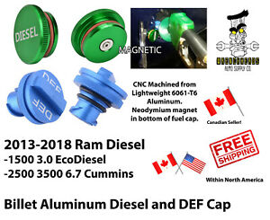 13-18 Ram Diesel 1500 EcoDiesel 2500 3500 Cummins Aluminum Diesel and DEF Cap