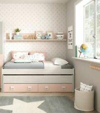 Habitdesign 0M7449Y 199x69x96cm Cama Doble con 2 Cajones y Estante - Blanco Alpes/Rosa Pastel