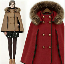 Winter Womens double-breasted Wool Removable Hooded Fur Collars cloak Cape Coat