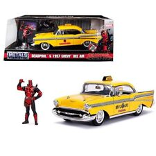 Deadpool Metals Die-cast 1957 Chevrolet Bel Air Taxi Yellow With Figure 1 24