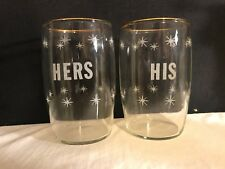 Vintage Pair Of Juice Glasses Embossed HIS & HERS