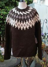 NWT Banana Republic Brown Alpaca Nordic Sweater Hand Knit S Chocolate Cream Tan