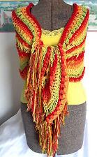 NEW Handmade Crochet Shawl Yellow Orange Lime Green Red Fruit Salad Bright Color
