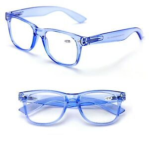 2 Pairs Transparent Neon Classic clear frame reading glasses unisex readers lot