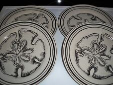 4 POTTERY BARN DINNER PLATES CRACKLE GLAZE SAND DOLLAR SEASHELL 9 1/2""