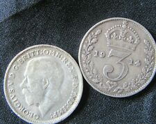 British - 1914  George V  Three Pence - Silver coin.