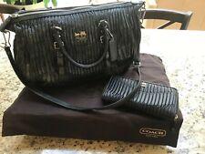 Coach Madison Sophia Black Gathered Leather Medium Satchel with Wallet