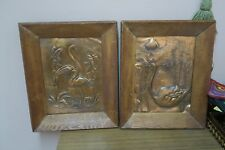 "Pair @ 2 Vintage Embossed Copper Relief Birds Picture 9"" x 12"" - 12"" x 16 Framed"