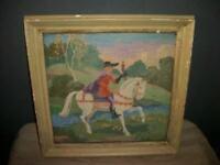 19th C. PETIT POINT NEEDLEPOINT FRENCH FARMHOUSE HORSEMAN CHIPPY FRAME 1890s