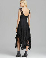 Lace Dress Long Sheer Black Peaked Gothic Steampunk Wiccan 14 16 42 44 US 10 12