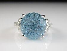 14K Blue Topaz Diamond Ring Disco Ball White Gold Designer Size 4.5   Unique!