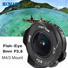 8mm F3.8 Fish-eye CCTV Lens For Micro Four Thirds M4/3 Mount Camera