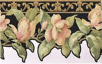 Black Golden Tan Magnolia Flower Floral Sculptured Textured Wallpaper Border