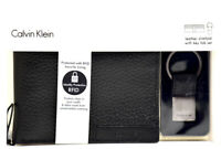 Calvin Klein Mens Bifold RFID Leather Card Wallet and Key Ring Set Black