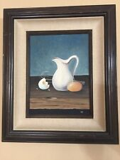 "Original Oil Painting Still Life, Signed by TIR, Framed, 8 1/2"" x 11 1/2"" Image"