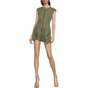 BCBGMAXAZRIA Womens Green Pleated Sleeveless Zip Front Romper M BHFO 2110